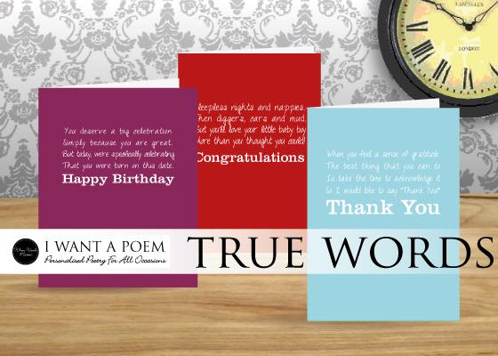 true words verse greetings cards by iwantapoem