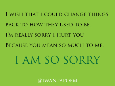 I am sorry for hurting you poems