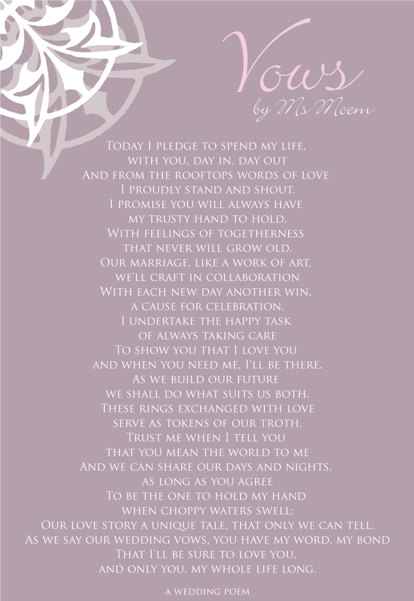 Vows A Wedding Poem By Ms Moem