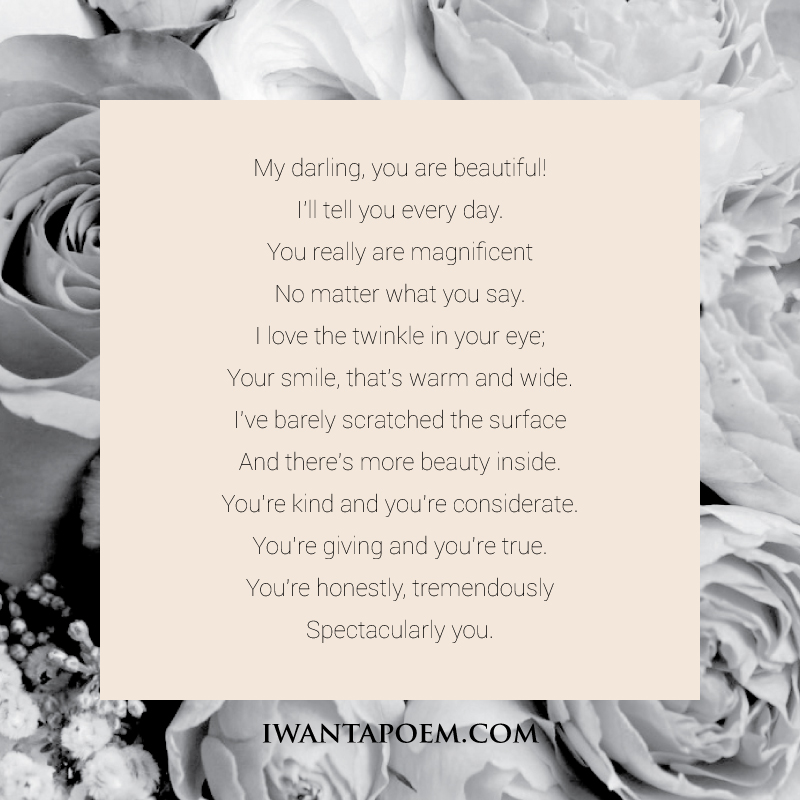 You Are Beautiful - A Poem by Amy @IWantAPoem