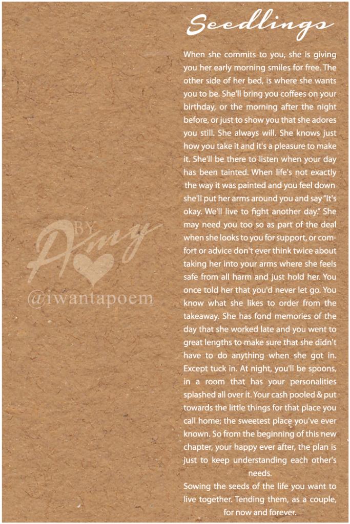 seedlings - an original wedding poem written by Amy at iwantapoem