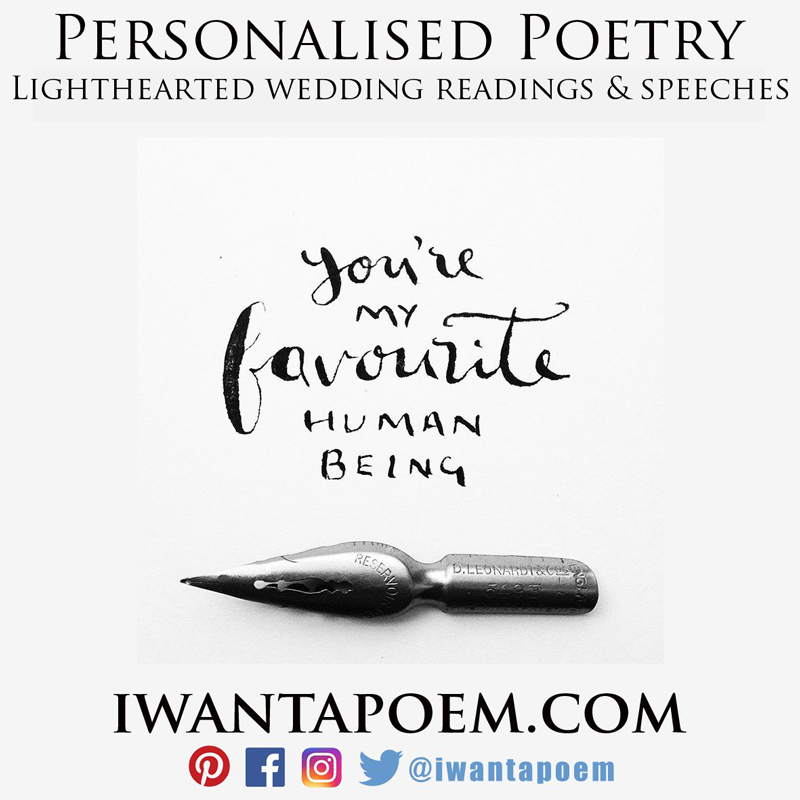 lighthearted wedding readings, poems and speeches written for you by Amy @iwantapoem